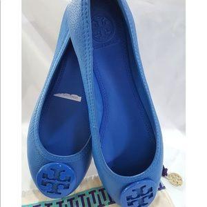 Tory Burch abbey leather logo flats blue 10.5 NEW
